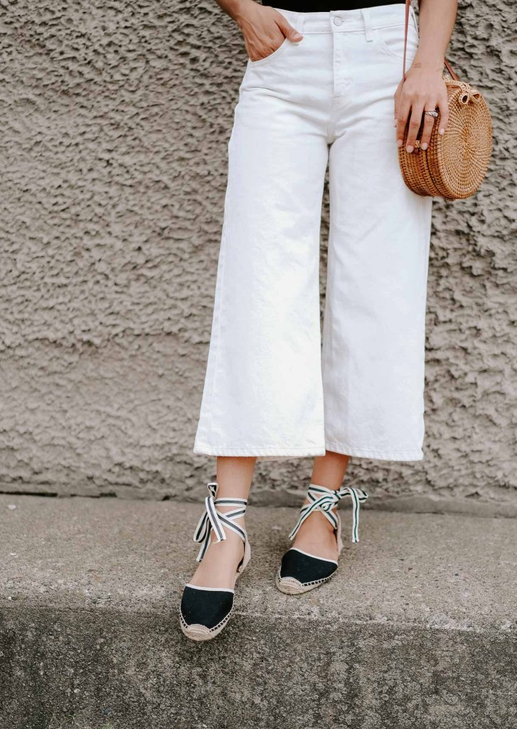 white denim culottes and espadrilles summer outfit