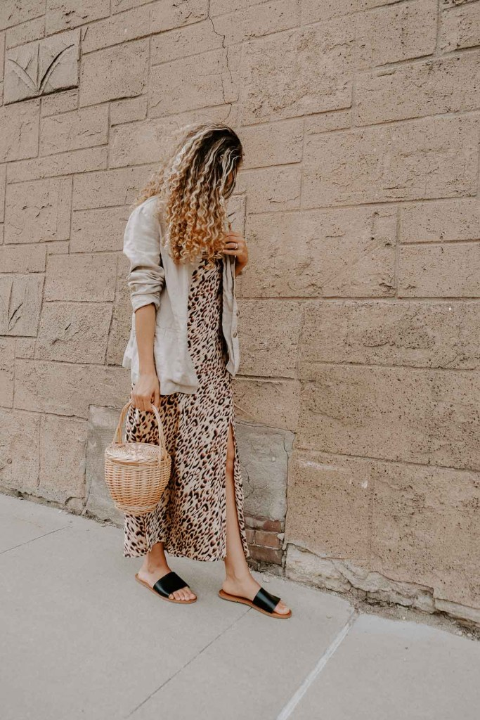 leopard print slip dress outfit for summer
