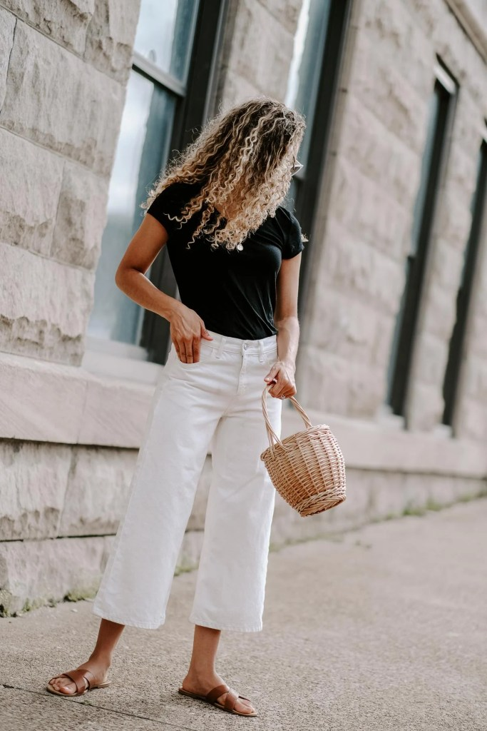 white denim culottes summer outfit