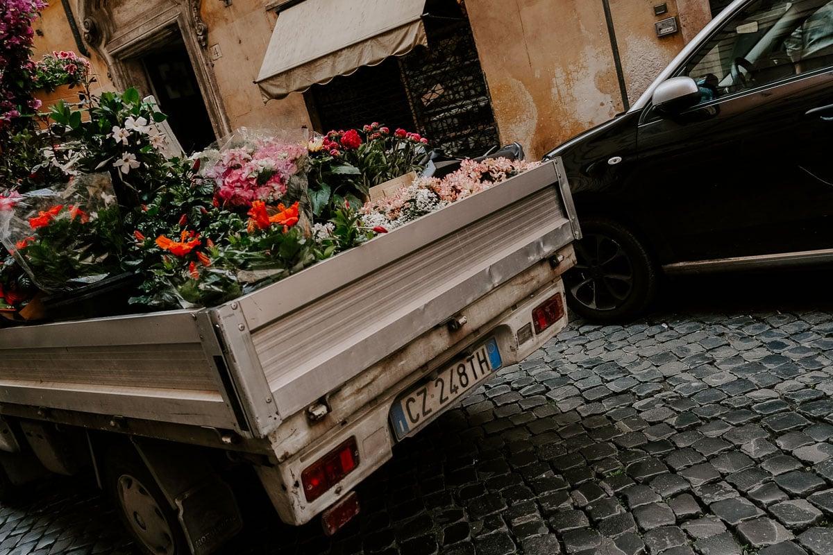 flower truck in Rome, Italy