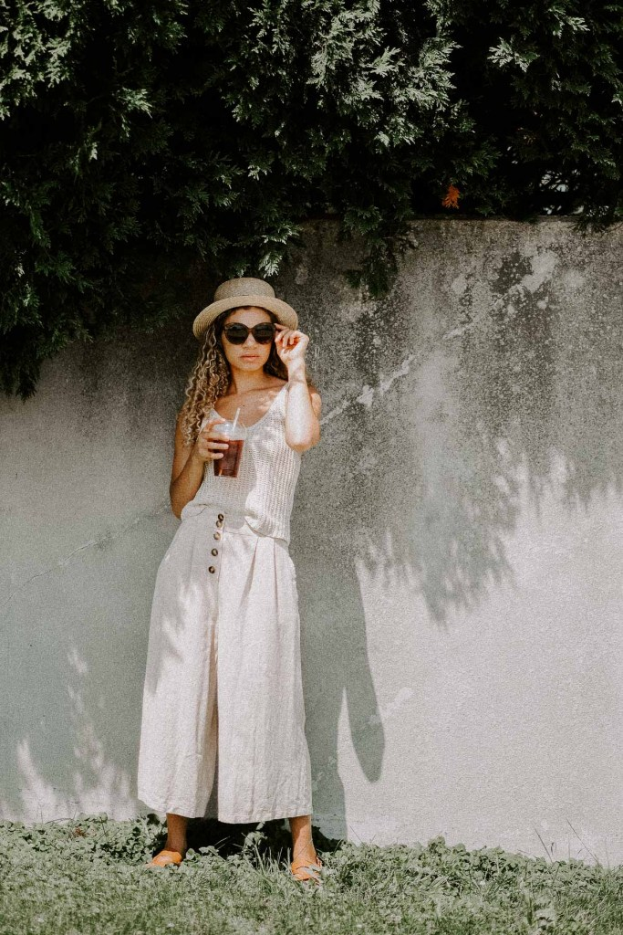 linen summer outfit and coffee