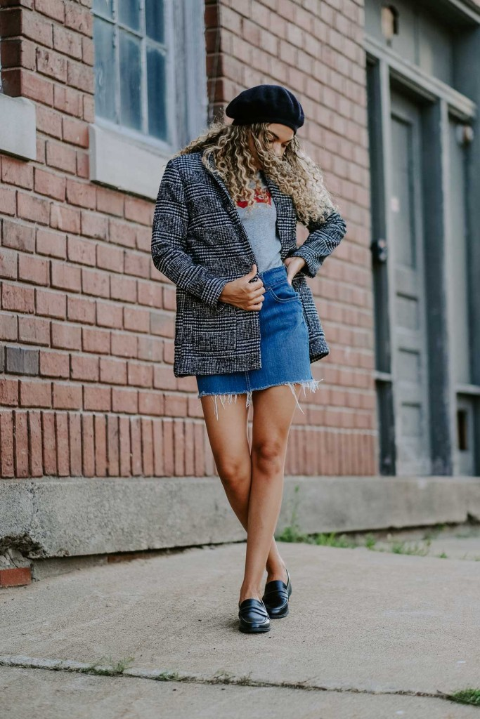 denim skirt and plaid blazer fall back to school outfit