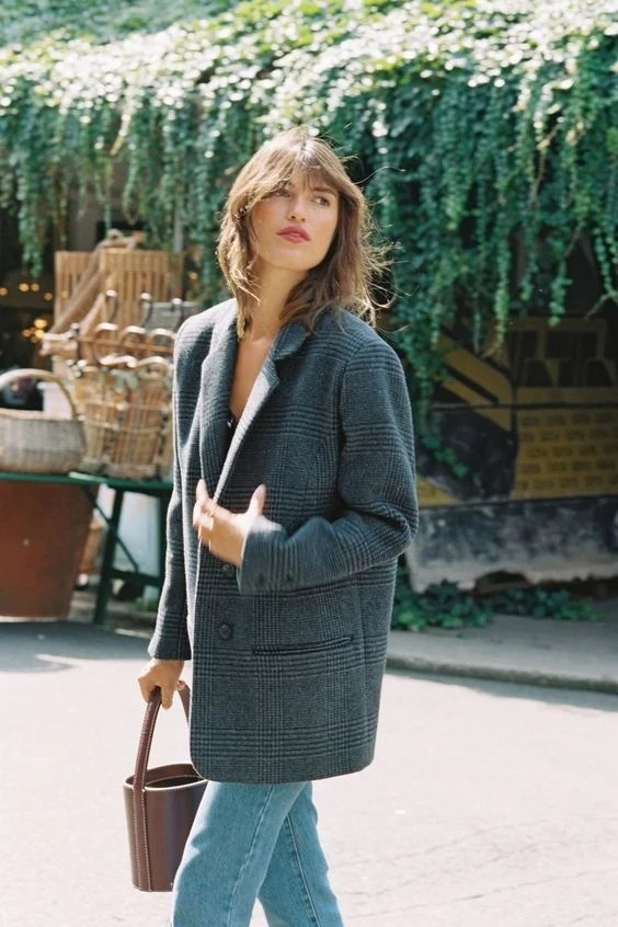 french girl oversized blazer