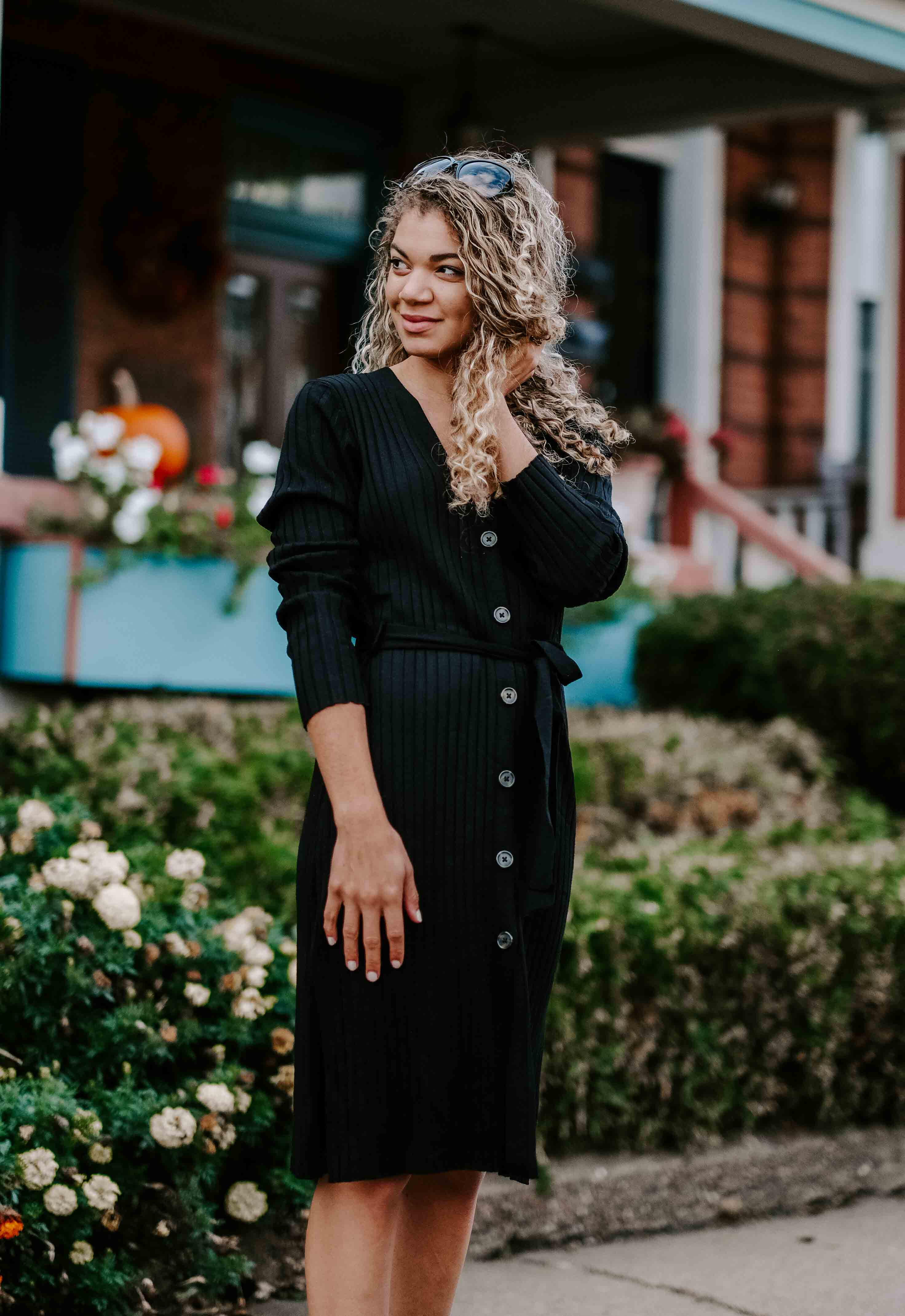 black sweater dress outfit