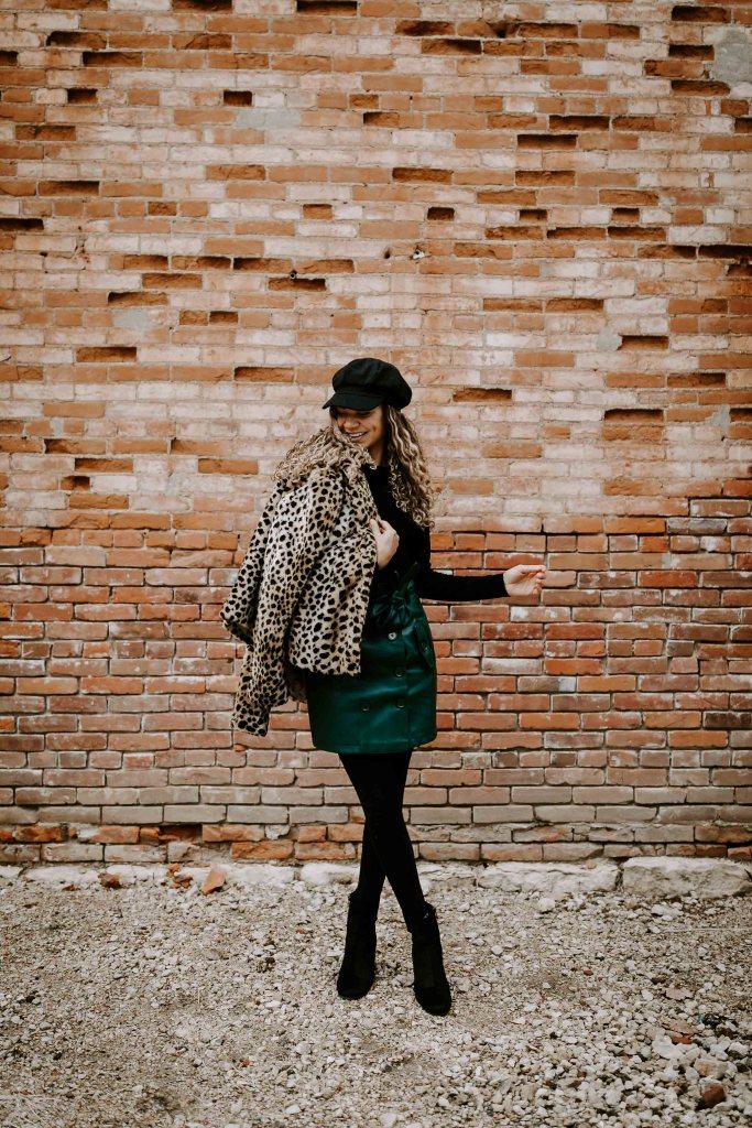 cheetah faux fur coat outfit
