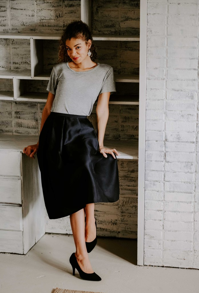 black party skirt holiday outfit