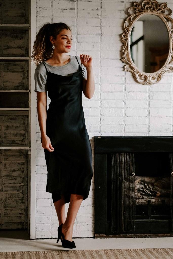 basic tee with slip dress
