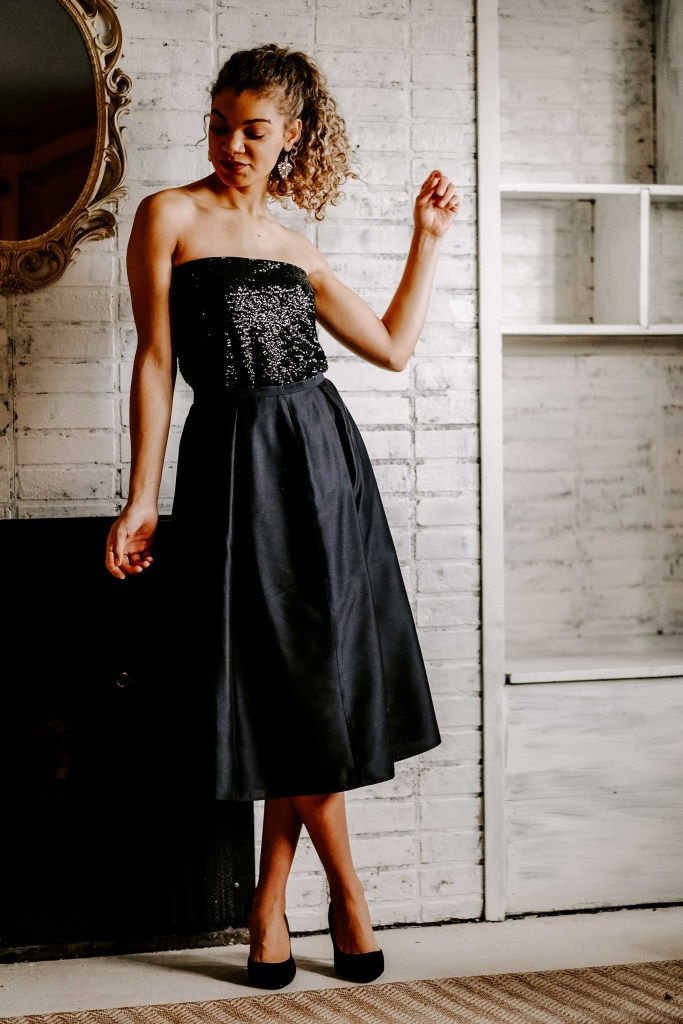 black sequin top with skirt outfit