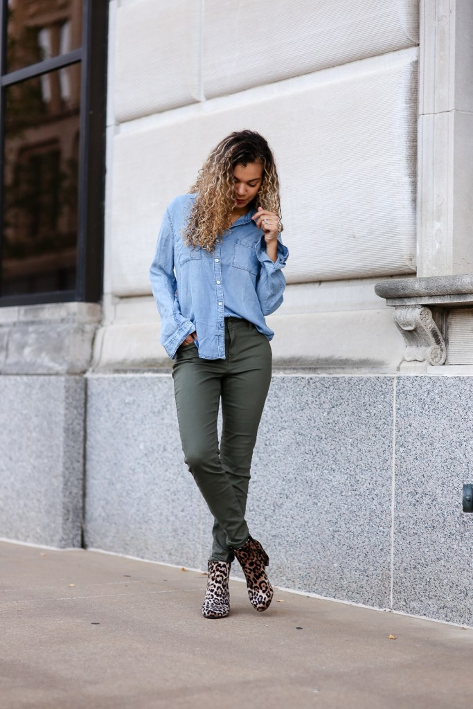 half tucked in chambray shirt