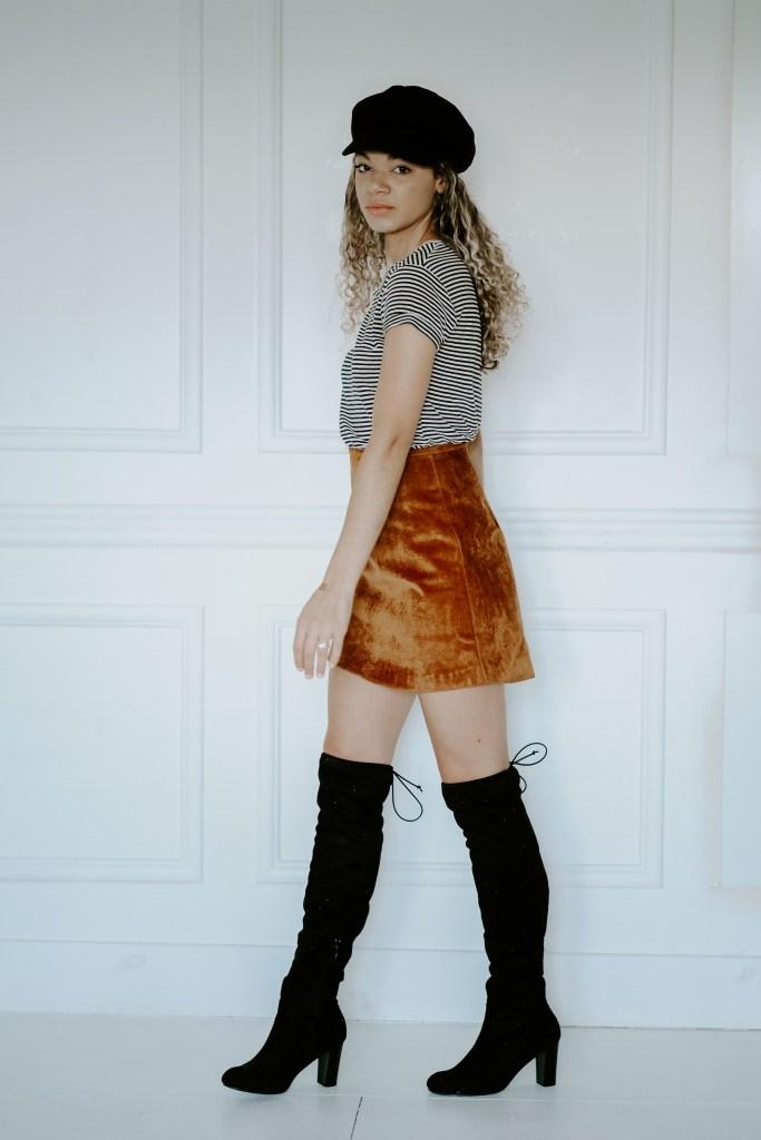 velvet skirt and over the knee boots