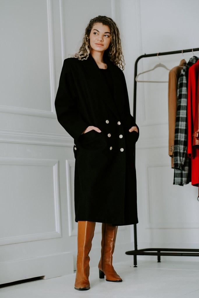 classic black coat thrifting haul