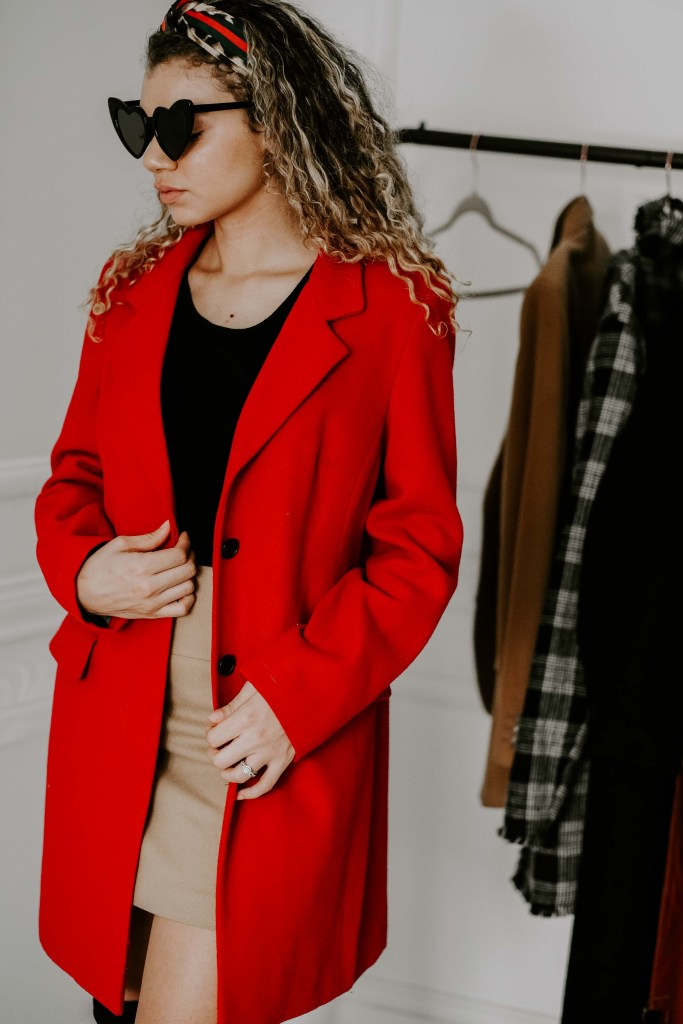 red oversized blazer coat outfit