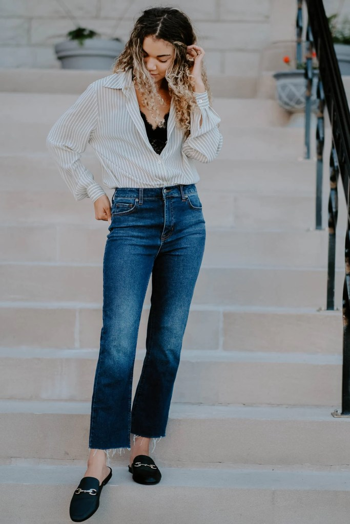 white button down classic outfit