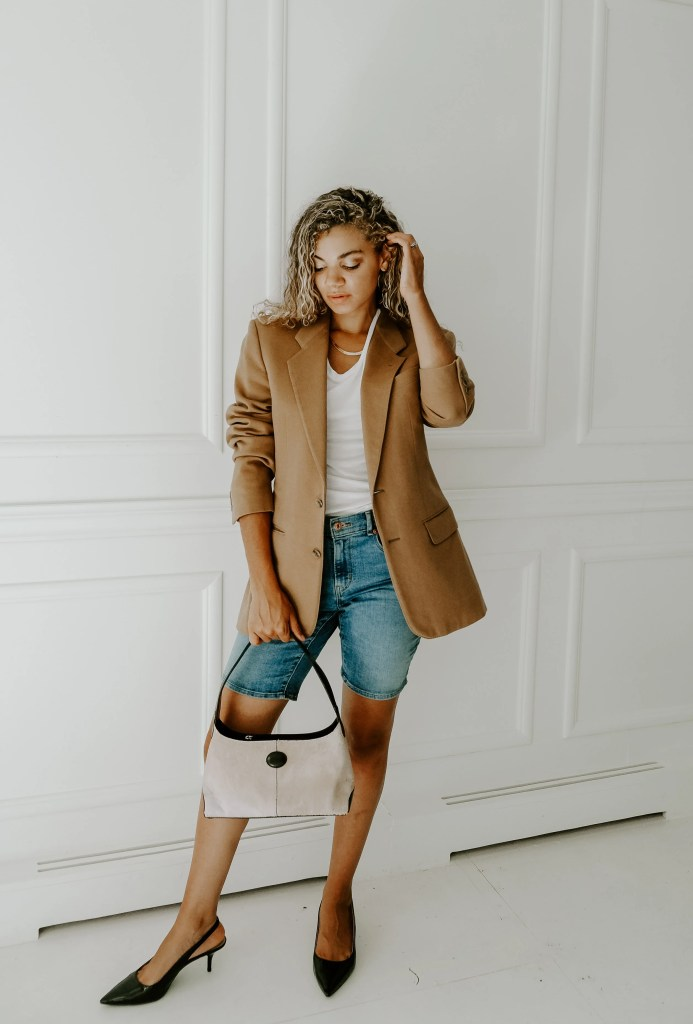 chic long denim shorts outfit