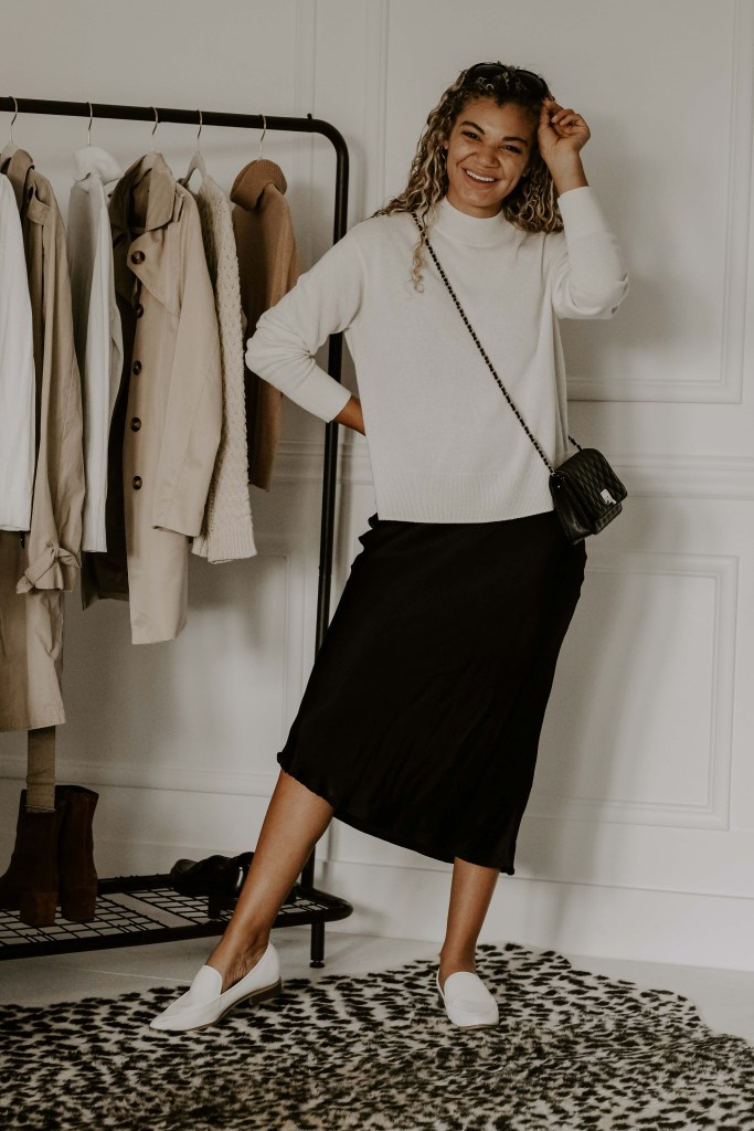 sweater and slip dress outfit