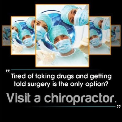 spine surgeon with caption to visit a chiropractor