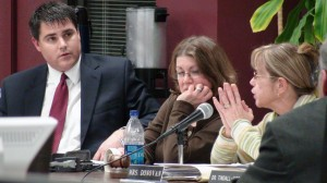 Superintendent's secretary Jan Myers was caught in the middle of a lively Board of Education budget discussion that included Mayor Bob Mezzo and Chairwoman Kathleen Donovan.