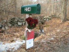 A mailbox at 234 Weekeepeemee Road, where Denee Wilkes and her three daughters placed flowers and signs to honor the memory of Barbara Satula, their mail carrier, who died Tuesday when her truck was crushed by a fallen tree.