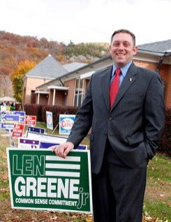 """People are just so angry, not just with Washington, but, you know, at the state and local level... They can't afford [government spending] and that makes people realize that we need some real change, not just a lot of rhetoric."" – Len Greene, republican candidate for state representative, 105th district"