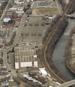 An aerial view of the General DataComm property in downtown Naugatuck. The Naugatuck Economic Development Corporation is reviewing submission from developers interested in being a part of the downtown development. –RA ARCHIVE