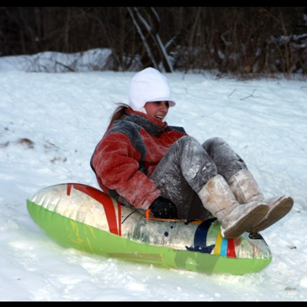 A Naugatuck resident sleds at Fairchild Park after the snow storm Dec. 27.