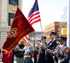 Representatives from Naugatucks fire department show their colors at Naugatuck's Earth Mayor of the Day celebration.