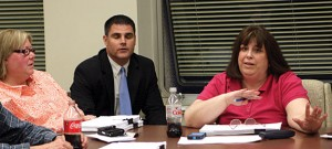 From left, Board of Education candidate Dorothy Neth-Kunin, Mayor Robert Mezzo, and Board of Finance Member Diane Scinto discuss the Board of Education Budget Monday night.