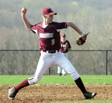 Naugatuck's Adam Neveski throws to first versus Woodland April 25. Neveski bated in two runs for the Greyhounds who defeated the Hawks 4-2. -LARAINE WESCHLER