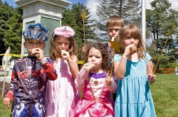 Whistle blowers, from left, Robert Gasparri, 5, Isabella LaMaine, 5, Vittoria Gasparri, 3, Tim O'Connor, 6, and Kyla O'Connor, 5, enjoy