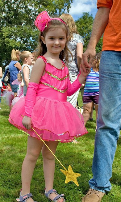 Annabell Duffany, 4, dressed up for character day at End of Summer Fun Week on the Prospect Town Green Aug. 22. The day featured face painting, train rides, and ice cream.