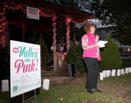 Peg Sheehy, chair of Naugatuck's The Valley Goes Pink Committee, kicks off a month's worth of breast cancer awareness and fundraising on the Naugatuck Town Green Oct. 3.