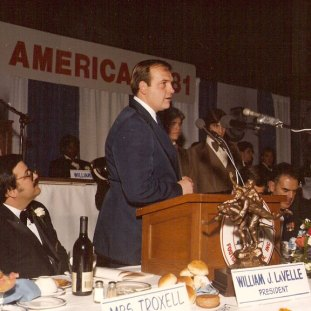 Former Naugatuck head coach Craig Peters accepts the Walter Camp Connecticut Team of the Year award following the 1981 season in which the Greyhounds went undefeated.