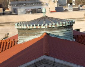 The rotunda over the entrance of the Whittemore library needs repairs.