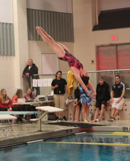 Naugatuck and Woodland faced off in the pool Tuesday in Beacon Falls. The Greyhounds swam past the Hawks to win the meet 97-88. LARAINE WESCHLER