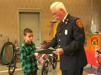 George Cruz of Cross Street Intermediate School won third place for fifth grade in the borough's fire prevention poster contest.