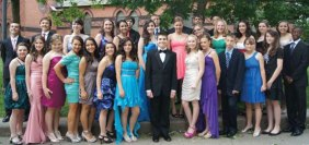 The graduating eighth-grade class of St. Francis-St. Hedwig School gathered on the Naugatuck Green June 1 for a class picture prior to attending a banquet at the Continental Room in Naugatuck.