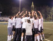 The Woodland boys soccer team celebrated their first Naugatuck Valley League championship Nov. 8. –FILE PHOTO