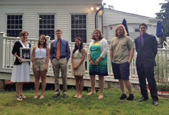The Camille B. Perugini Charitable Trust awarded 10 scholarships totaling $11,000 June 25 during an awards dinner at Jesse Camille's Restaurant in Naugatuck. The scholarship was created in 1997 in memory of Camille B. Perugini, a 1988 Wolcott High Graduate and a 1992 graduate of Boston College, who passed away in 1997 unexpectedly from an undiagnosed medical condition. Pictured, from left, scholarship winners Kaitlin Carter of Naugatuck High, Nick Bernier of Wolcott High, Isabella Verilli of Naugatuck High, Mary Korowotny of Nonnewaug, Tim Woodfield of Naugatuck High, and Nathaniel D'Amico of Chase Collegiate. Not pictured are scholarship winners Debora Dasilva Oliveira of Naugatuck High, Kathryn Bottnick of Naugatuck High, Michael Torselli of Woodland and Melissa Leggett of Naugatuck High.