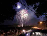 Residents line Millville Avenue in Naugatuck to watch Naugatuck's fireworks show on July 4. PHOTO BY RA ARCHIVE