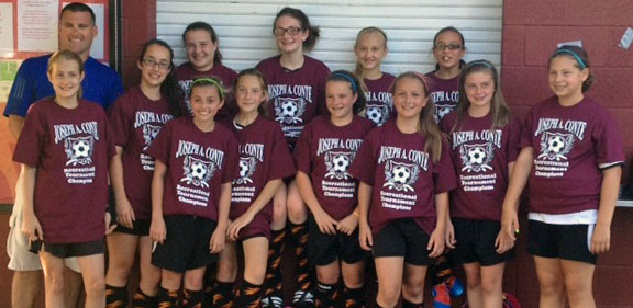 Prospect's U-12 Girls Travel Team ended their spring season undefeated in league play (10 and 1 overall) to win the South Central Division bracket. They also clinched the U-12 girls Division Championship title at the South Central District Joseph A. Conte Tournament in Cheshire in June. Pictured, bottom row, from left, Victoria I., Samantha C., Veronica M., Jordan T., Eliza S., Sabina K., Kristen P., and Megen S. Top row, from left, Makayla W., Micayla B., Jordan W., Alexis M., and coach Dan Barrows. Missing from photo, Kyla D., Kerrigan S. and assistant coach Ron Moscariello. The team has open positions for the fall. For more information, or to register, visit www.prospectsoccer.com or call Dan Barrows at (203) 915-9778.