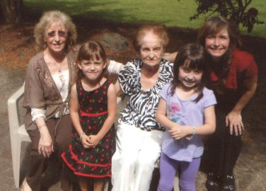 From left, Katherine Traver, grandmother, Jennifer Lucia, Adeline Triano, great-grandmother, Jessica Lucia, and Julia Lucia, mother, come together for a picture on Mother's Day this year representing four generations of a Naugatuck family. -CONTRIBUTED
