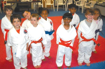 Members of USA Martial Arts' Kid Kicks group, ages 5 and 6, completed a grading Aug. 27. Students demonstrated skills in sparring, forms, one-steps, kicks, board breaking, rolls and break falls. Pictured, front row, Nolen Lyons was promoted to apprentice orange, Ean Rupwani was promoted to orange belt, Joshua Raj was promoted to blue belt, and Nina Peterson was promoted apprentice blue. Back row, Emily LaBracque was promoted to apprentice blue, Nico Albanese was promoted to blue belt, Sabrina Dasilva was promoted to apprentice purple, David Marimekala and Leah Quijano were promoted to apprentice green. -CONTRIBUTED