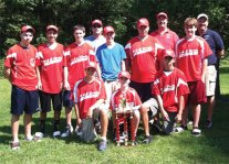 B&G Sports won the Naugatuck babe Ruth championship this season. The team, pictured in no particular order, is Evan Bombery, Brendan Caldwell, Keith Daisey, Eric Jenkins, Colin Leary, Andrew Rivera, Tyler Saad, Jason Szarzynski, Robert Tesla, coaches Jim Szarzynski and PJ Daisey, and league President Ray Rossi. Not pictured, players Nick Cantoni, Colten Roberts, and Conor White. -CONTRIBUTED