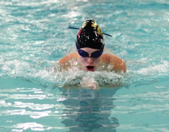 Woodland's Sarah Parker does the breaststroke during the 200 medley relay versus Kennedy Oct. 22 in Beacon Falls. -ELIO GUGLIOTTI