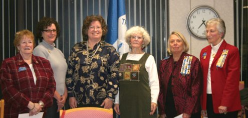 The Trumbull-Porter Chapter, Daughters of the American Revolution, welcomed three new members Karen Schiaroli of Naugatuck, Cynthia Tun of Middlebury, and Joy MacDonald of Naugatuck at a recent meeting. Pictured, from left, Assistant Registrar Freda Carreiro, Schiaroli, Tun, MacDonald, Regent Carol Bauby, and Registrar Katie Gabrielson.-CONTRIBUTED
