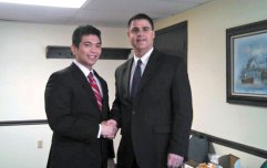 Naugatuck Mayor Robert Mezzo, right, recently welcomed Dr. Victor Chueng to the borough. Chueng, a graduate of Columbia University Dental School, is the owner of the Connecticut Center for Restorative Dentistry on Water Street, an office he bought last year. 'Being welcomed by Mayor Mezzo is an honor. It's always a pleasure to put a face with a name. Or in my case, a set of teeth with a name,' Chueng said. –CONTRIBUTED