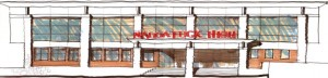 This architectural drawing depicts the front of Naugatuck High School after the renovation project. -CONTRIBUTED