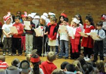 "Local schools celebrated Read Across America March 1 in honor of Dr. Seuss' birthday, which was March 2, with guest readers, dressing up and reading their favorite books. First-graders at Hop Brook Elementary School read the poem ""And the Answer is…"" by Carol Diggory Shields. –LUKE MARSHALL"