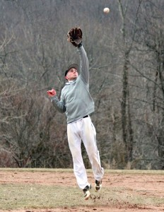 Woodland senior David Uhl cuts off a throw to third during practice Monday at the school. Uhl, along with fellow seniors Steve Baeder, Anthony Scirpo, Anthony Ross and Nick Brown are all captains for the baseball team. –ELIO GUGLIOTTI