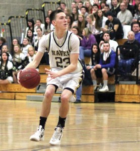 Woodland's Tanner Kingsley was the second leading scorer for the Hawks last season. Kingsley and fellow seniors Kenny Koch and Jack Pinho will captain the basketball team this season. –FILE PHOTO